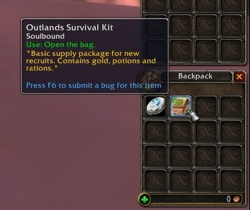 outland survival kit from the level 58 boost character on TBC Classic